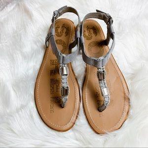 Sorel Ella T-Strap Sandals in Dove Gray